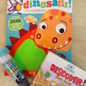 Dinosaur Activity Book, Fossil Dig Kit, & Glitter